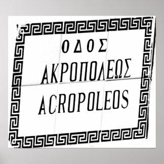 Acropolis Sign taken on Rhodes Posters