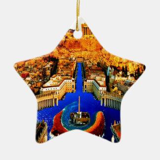 acrópolis subacuática cuadrada de Atenas de San Ornamentos De Reyes Magos