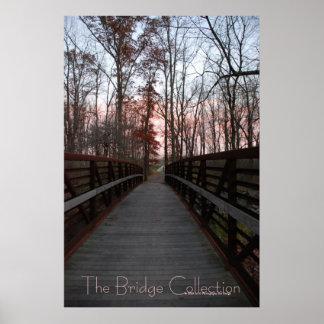 Across a wood bridge facing the sunset poster