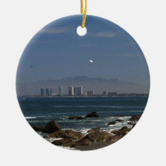 Across the Bay Double-Sided Ceramic Round Christmas Ornament