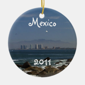 Across the Bay; Mexico Souvenir Double-Sided Ceramic Round Christmas Ornament