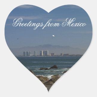 Across the Bay; Mexico Souvenir Heart Sticker
