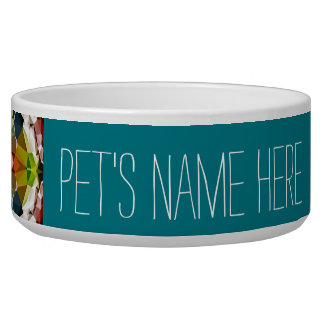 Across The Bridge Geometric Customizable Pet Bowl