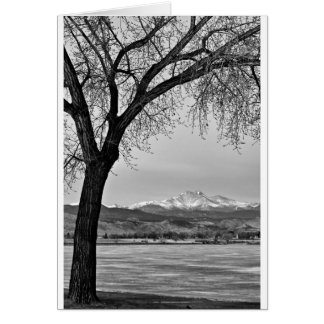 Across The Lake in Black and White Greeting Card