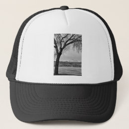 Across The Lake in Black and White Trucker Hat