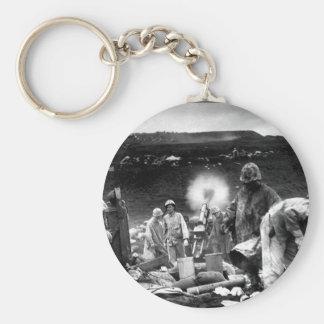 Across the litter on Iwo Jima's black_War Image Basic Round Button Keychain