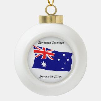 ACROSS THE MILES CERAMIC BALL DECORATION CERAMIC BALL CHRISTMAS ORNAMENT