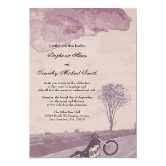 "Across the road motorcycle wedding invitation 5"" x 7"" invitation card"