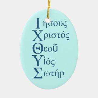 Acrostic de IXOYE (azul) Adorno Navideño Ovalado De Cerámica