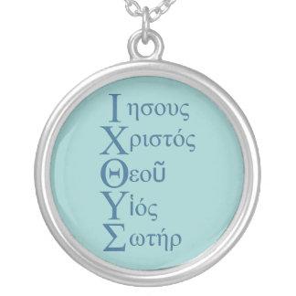 Acrostic de IXOYE (azul) Pendiente Personalizado