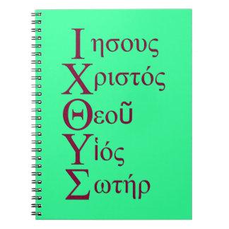 Acrostic de IXOYE (rojo) Libro De Apuntes Con Espiral
