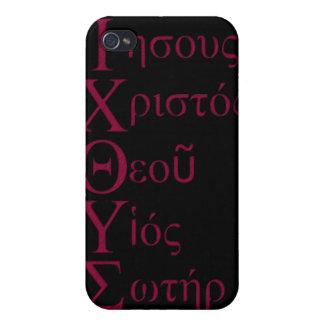 Acrostic de IXOYE (rojo) iPhone 4 Protectores