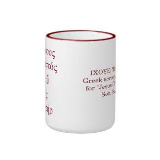 Acrostic de IXOYE (rojo) Tazas