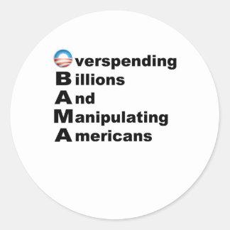Acrostic de Obama Pegatina Redonda