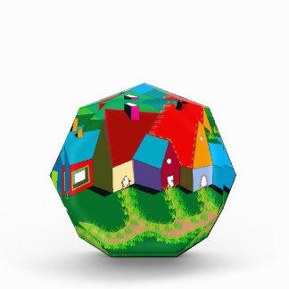 Acrylic Award with Folk Art Houses