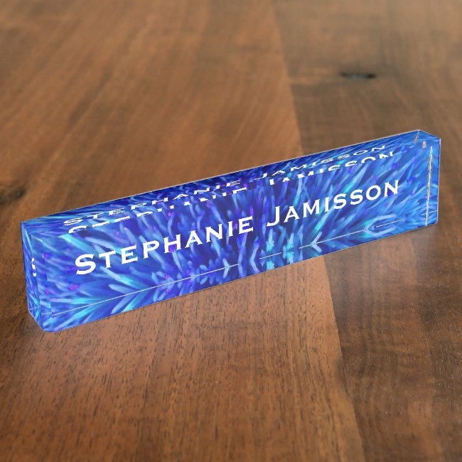 Acrylic Desk Nameplate, Blue Abstract