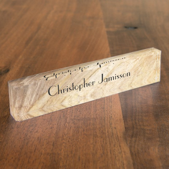Acrylic Desk Nameplate, Faux Light Brown Stone