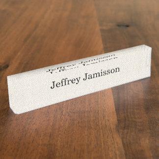 Acrylic Desk Nameplate Faux Textured Burlap Design