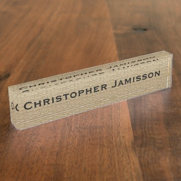 Professional Business Acrylic Desk Nameplate, Gold and Black Nameplate