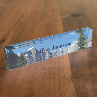 Acrylic Desk Nameplate, Mountains, Personalized Name Plate
