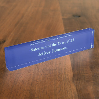 Acrylic Desk Nameplate, Salesman of the Year Blue Nameplate