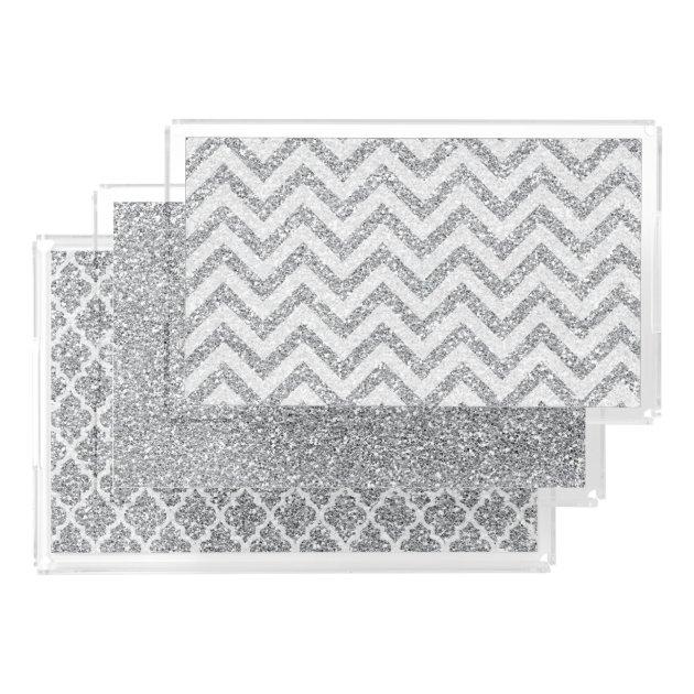 Acrylic Faux Glitter Vanity Tray Set Silver | Zazzle