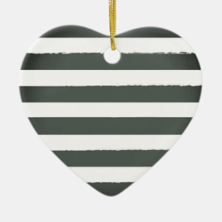 Acrylic heart with vintage stripes ceramic ornament