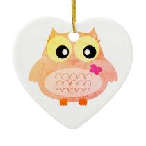 Acrylic kids heart with Owl Ceramic Ornament
