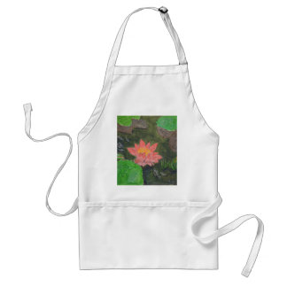 Acrylic on canvas, pink water lily flower adult apron