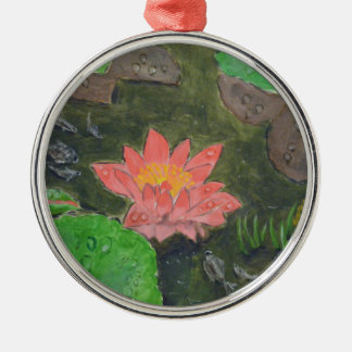Acrylic on canvas, pink water lily flower metal ornament
