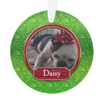Acrylic Ornament Photo FAUX Green Red Sparkle