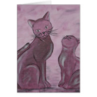 Acrylic paint purple Cats painted by Tutti Greeting Cards