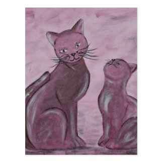 Acrylic paint purple Cats painted by Tutti Postcard