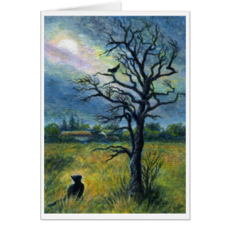 Acrylic painting, Cat, Bird, Moon & Tree Landscape Card