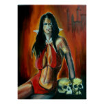 Acrylic painting of the sultry Vampirella. Poster