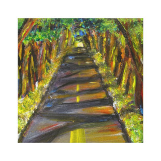 Acrylic painting of tunnel of trees in Kauai Canvas Print