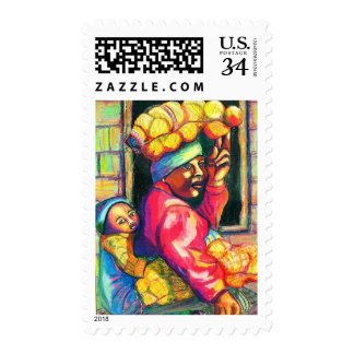 Acrylic Painting Orange Seller Mother Child Stamp