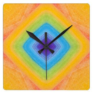 Acrylic Rainbow Diamond Pattern Square Wallclock