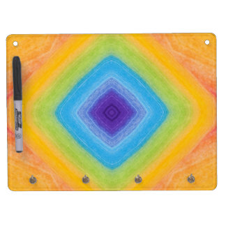 Acrylic Rainbow Diamond Pattern Dry Erase Board With Keychain Holder