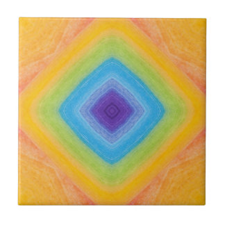 Acrylic Rainbow Diamond Pattern Small Square Tile