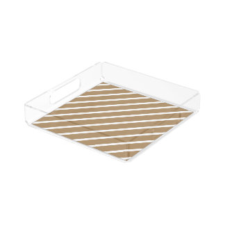 Acrylic Serving Tray Gold with White Stripes Square Serving Trays