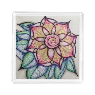Acrylic Tray, Sm w/Meditation Flower Design Serving Tray