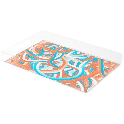 Acrylic Vanity Tray In Orange Blue Tangle Design Zazzle