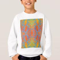 Acryllic Abstract Orange and Blue Trippy Pattern Sweatshirt