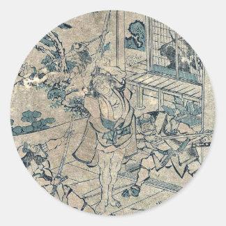 Act11 Kanadehon Chushingura por Katsushika, Pegatinas Redondas
