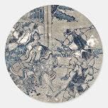Act12 Kanadehon Chushingura by Katsushika,Hokusai Round Stickers