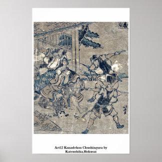 Act12 Kanadehon Chushingura por Katsushika, Hokusa Poster