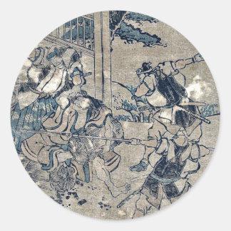 Act12 Kanadehon Chushingura por Katsushika, Etiquetas Redondas