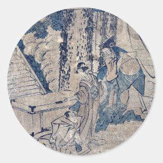 Act1 Kanadehon Chushingura por Katsushika, Hokusai Pegatina Redonda