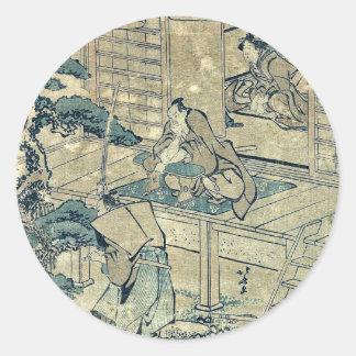 Act2 Kanadehon Chushingura por Katsushika, Hokusai Pegatina Redonda